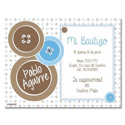 b0019 B azul - Invitaciones - Bautizo