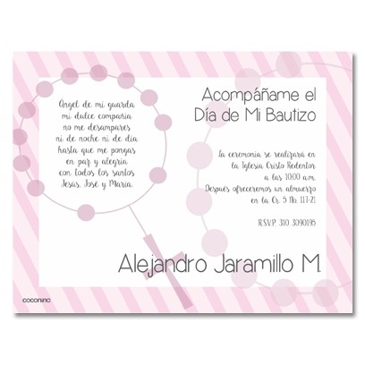 b0020 B Rosada - Invitaciones - Bautizo