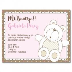 b0035 B rosado - Invitaciones - Bautizo