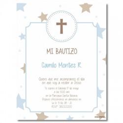 b0024 B Azul - Invitaciones Bautizo