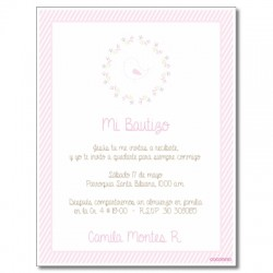 b0025 B Rosado - Invitaciones Bautizo