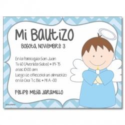 b0027 Azul - Invitaciones - Bautizo