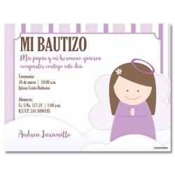 b0029 Violeta - Invitaciones - Bautizo