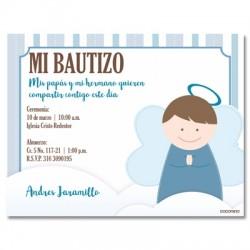 b0029 B azul - Invitaciones - Bautizo