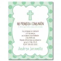 b0055 C Verde - Invitaciones - Bautizo