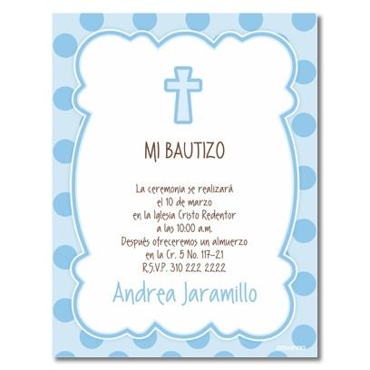b0055 B Azul - Invitaciones - Bautizo