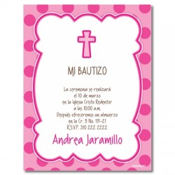 b0055 B rosado - Invitaciones - Bautizo