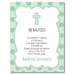 b0055 B verde - Invitaciones - Bautizo