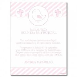 b0080 B rosado - Invitaciones - Bautizo