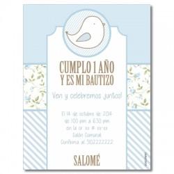 b0047 B azul - Invitaciones - Bautizo