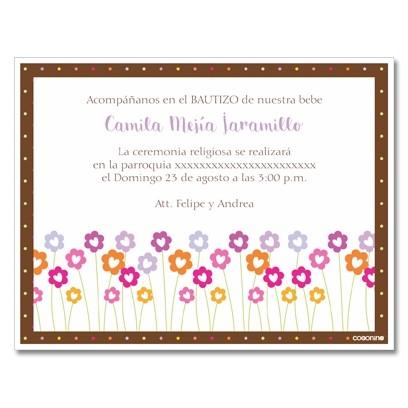 b0017B  - Invitaciones  Bautizo -flores