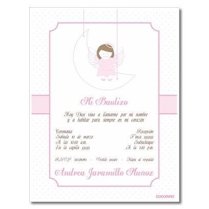 b0059 Rosado - Invitaciones - Bautizo