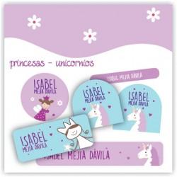 vc0042 - Kit Marca tus cosas - Unicornios y Princesas