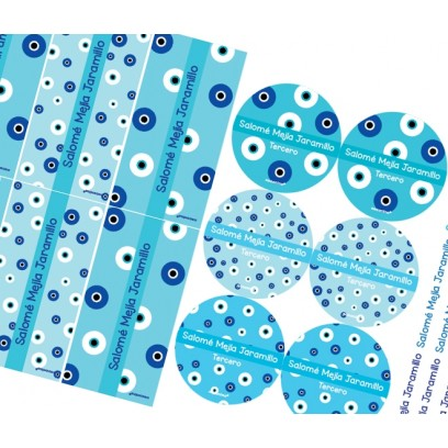 KE0219 azul - Kit Escolar - ojos turcos